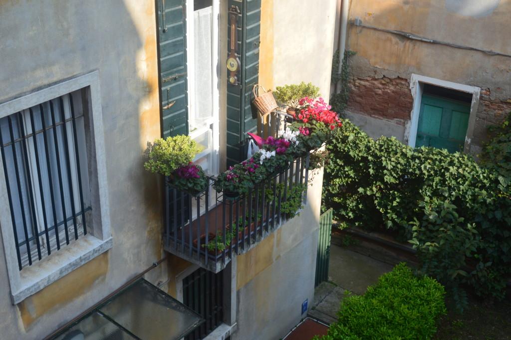 Udsigt fra rum, hvor jeg boede lokalt. En veneziansk gårdhave.