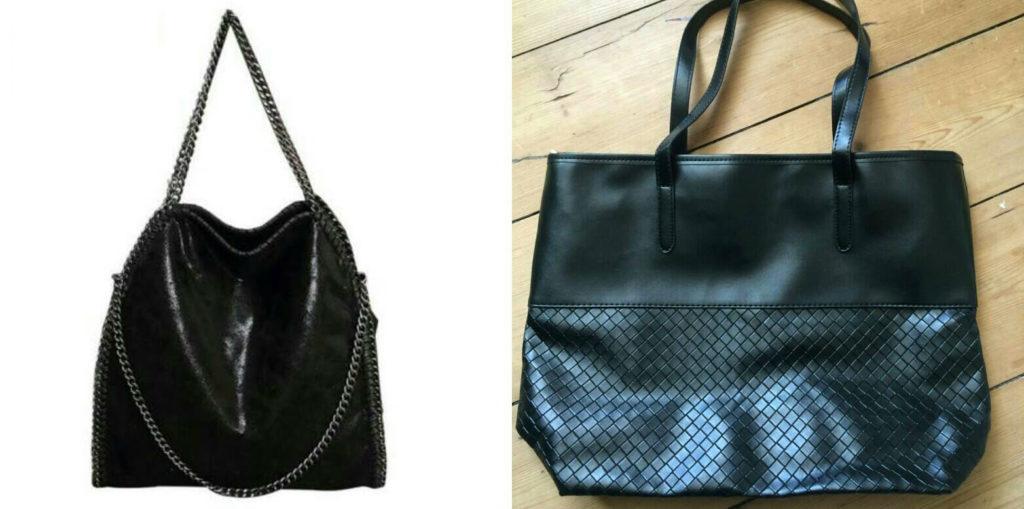 Simone bestilte tasken til venstre, men fik tasken til højre. (Foto: Privat)