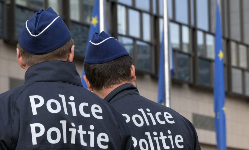 Bombetrussel i Bruxelles. Her ses to betjente tidligere på året ved et arrangement efter Brexit. (Foto: Polfoto)