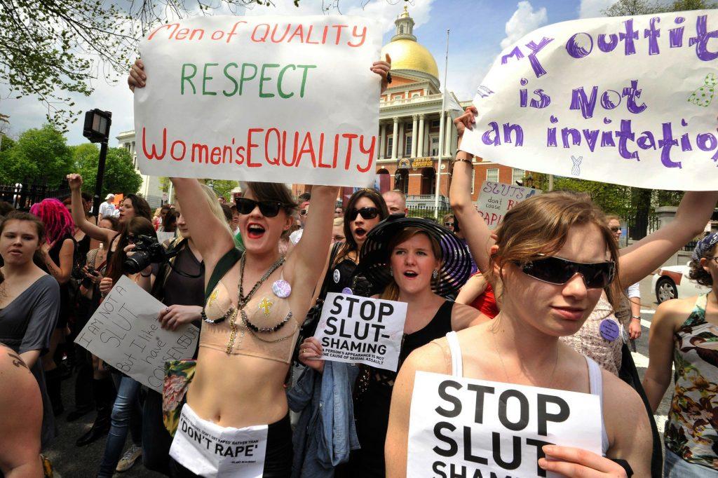 #SlutWalk: Demonstration sætter fokus på slutshaming. Her i Boston. (Foto: Polfoto)