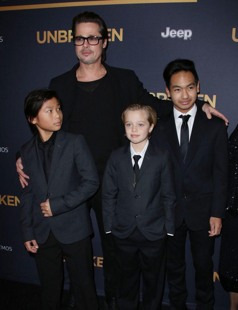 Brad Pitt with children Pax Jolie-Pitt, Shiloh Jolie-Pitt and Maddox Jolie-Pitt