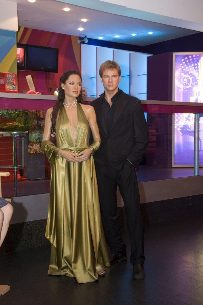 Waxwork models of Angelina Jolie and Brad Pitt at Madame Tussauds, London, Britain