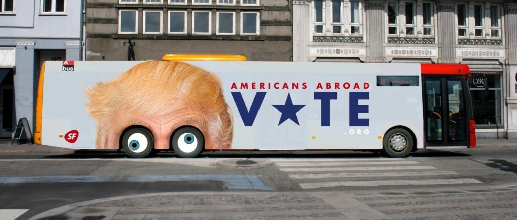 SF's busreklame med Trumps rullende øjne går verden rundt. (Foto: Polfoto)