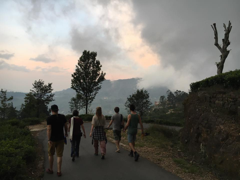 5 backpackere går i Sri Lanka ved bjergene (Foto:privat)