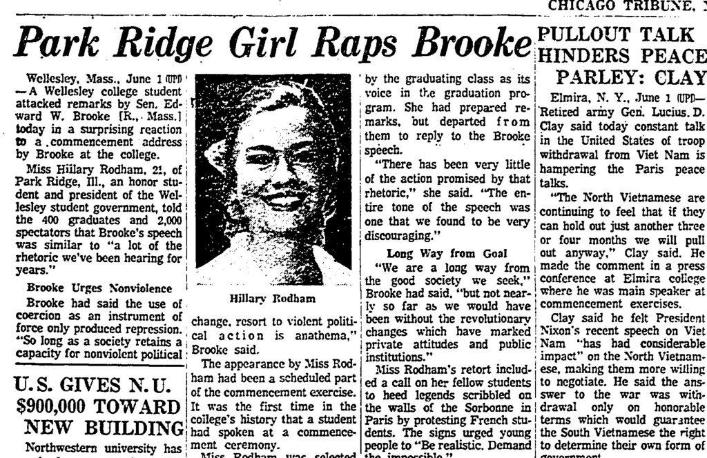 Chicago Tribune skrev om Hillary Rodhams tale i 1969. (Foto: Polfoto).