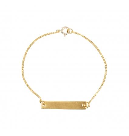 Kædearmbånd med plade, fås i både søkv og guld, 375 kr., Pico.