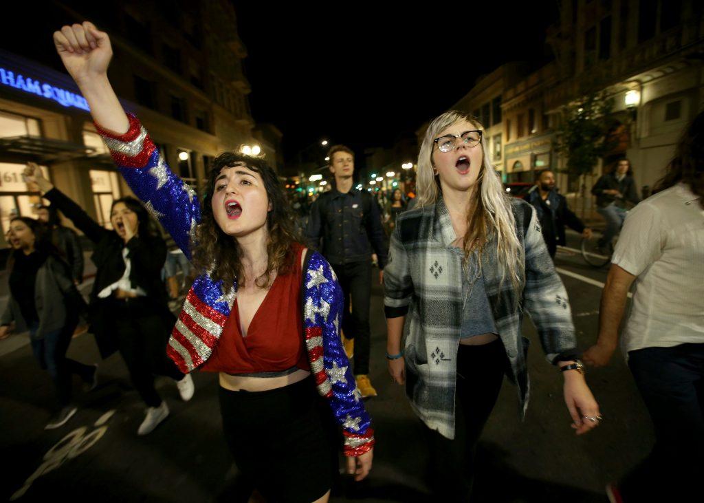 Store protester over hele USA over Trumps sejr. (Foto: Polfoto)