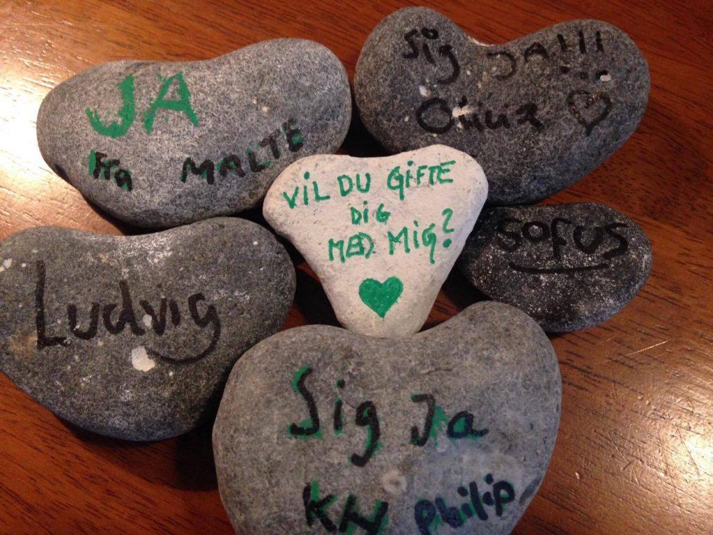 Hjertestenene, som Trine friede med. (Foto: Privat)