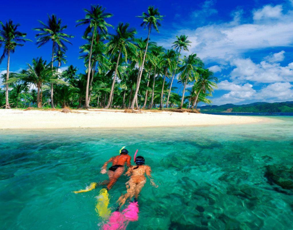 drømmerejse, par, rejse, ferie, dykker, dykning, palmer, strand, palmestrand, vandet, havet