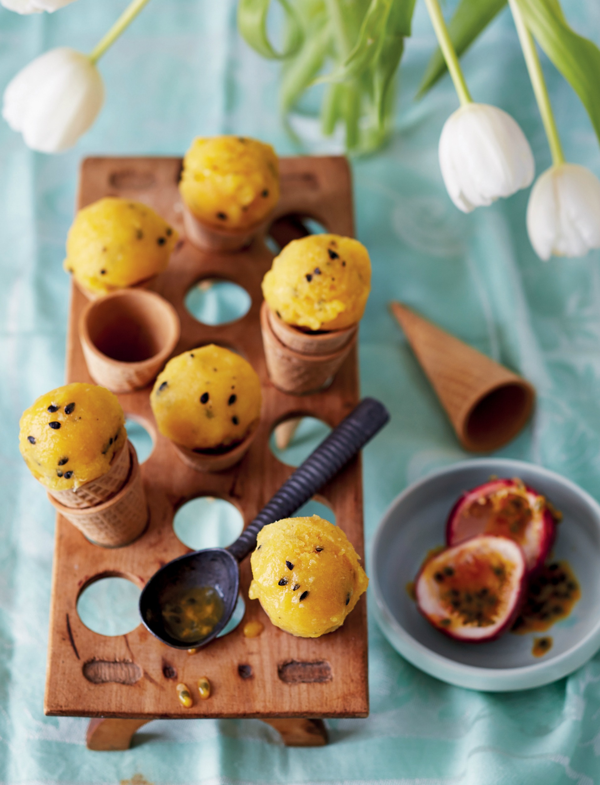 mango og passionsfrugt sorbet