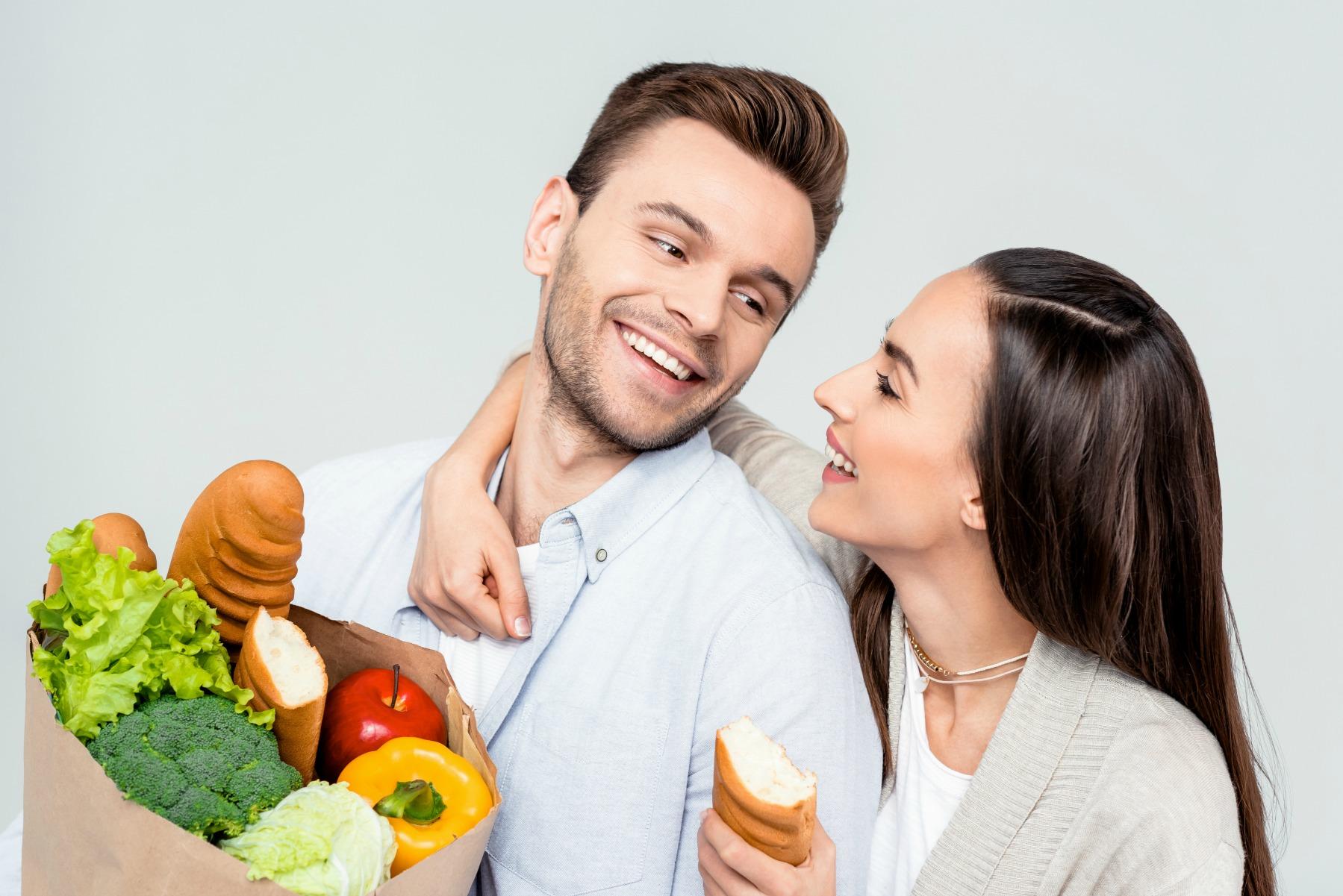 par, handler, mad, flytte sammen, husholdning, kæreste