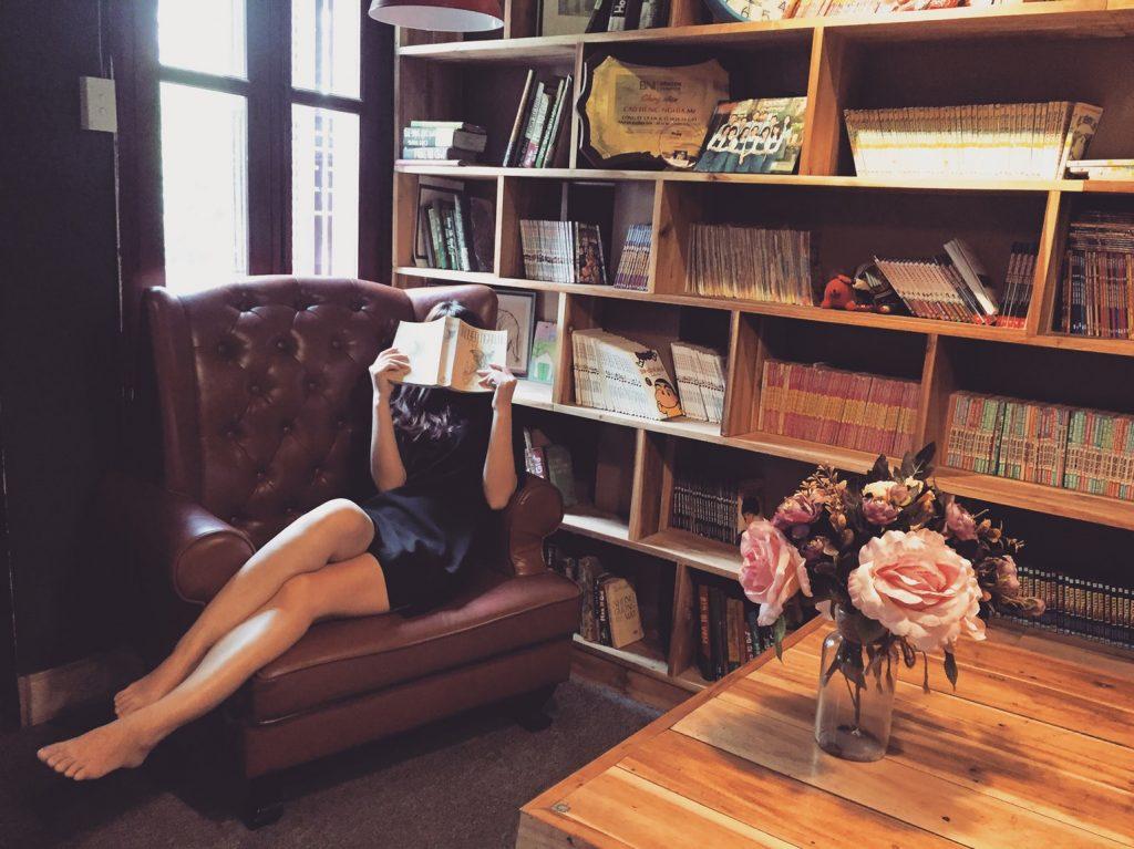 bog, bogreol, hygge, sofa, veninde, stue, læser, læsning, kvinde læser, bord, blomster, vase, inretning, stue, lænestol