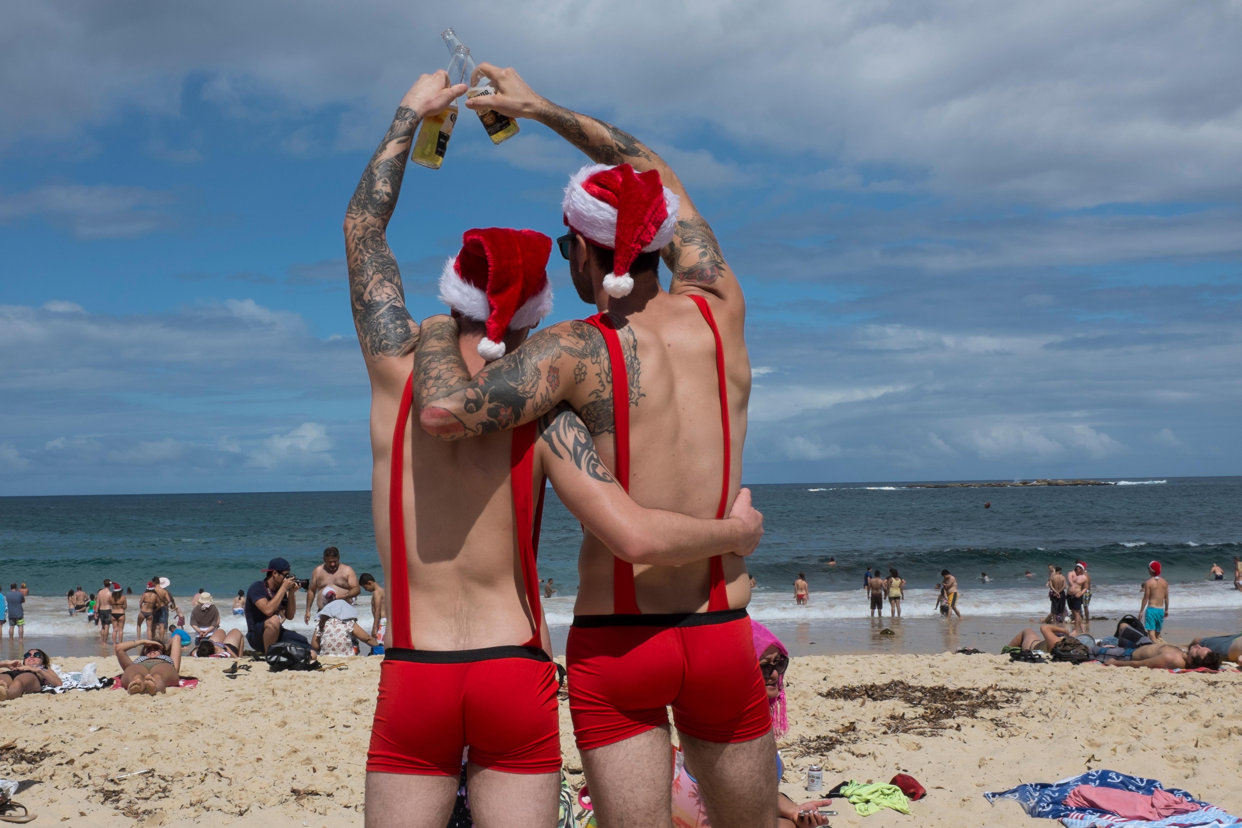 jul, sydpå, sydney, australien, juleaften, strand, varme, rejse, julen