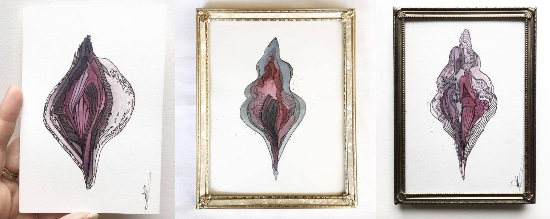 """Vaginakunstner, vagina, kunst. Værker fra Meris serie """"Lust"""". Som kunstner går hun under navnet Pale Illusions. (Foto: Pale Illusions)"""
