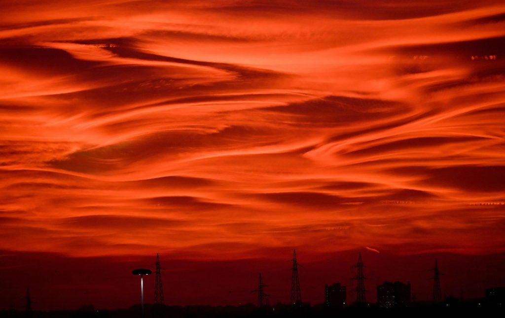 milano, italien, solnedgang, elektricitet, dagens billede