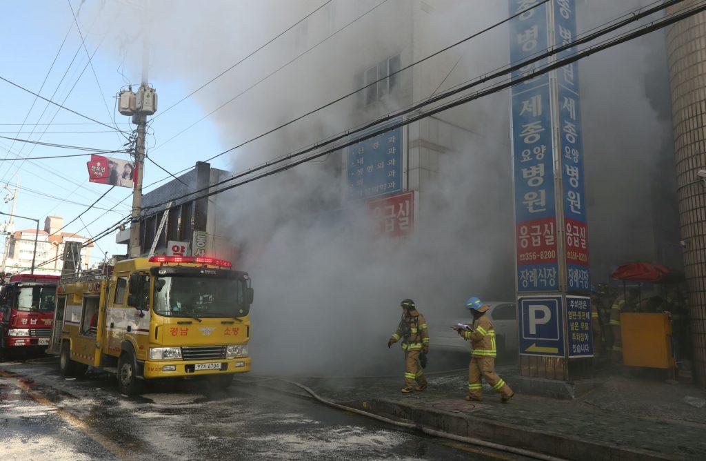 sydkorea, brand, hospital, dagens billede