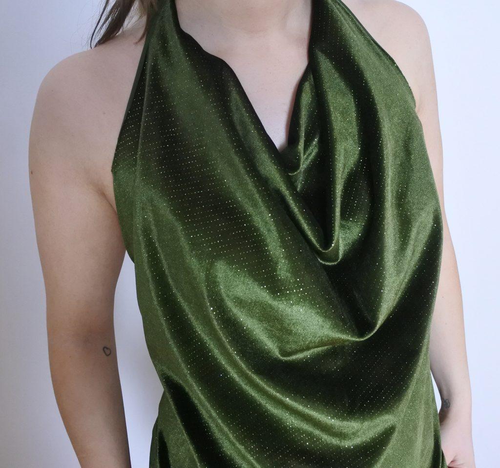 diy, top, festtop, stof, sy, glimmer, grøn, billigt, mode, kvinder, tøj,