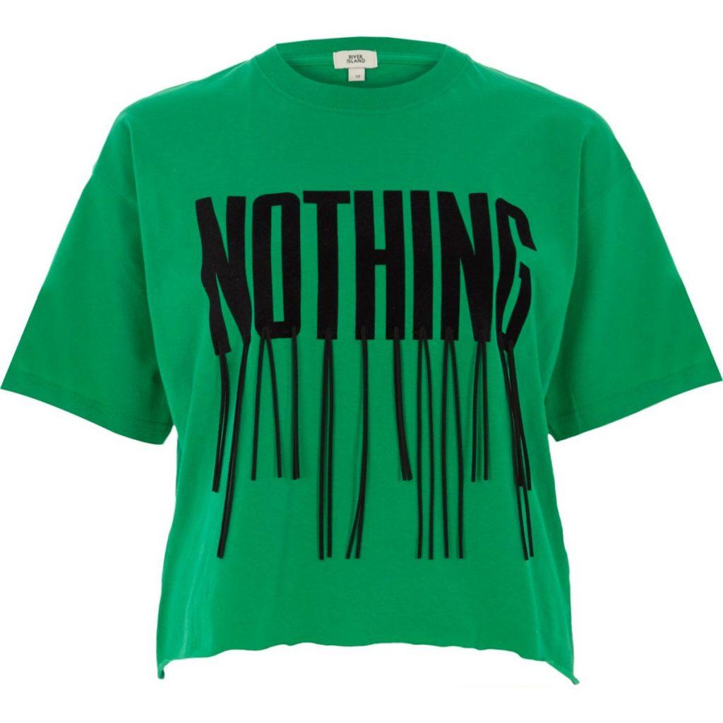 grøn statement-t-shirt med frynser