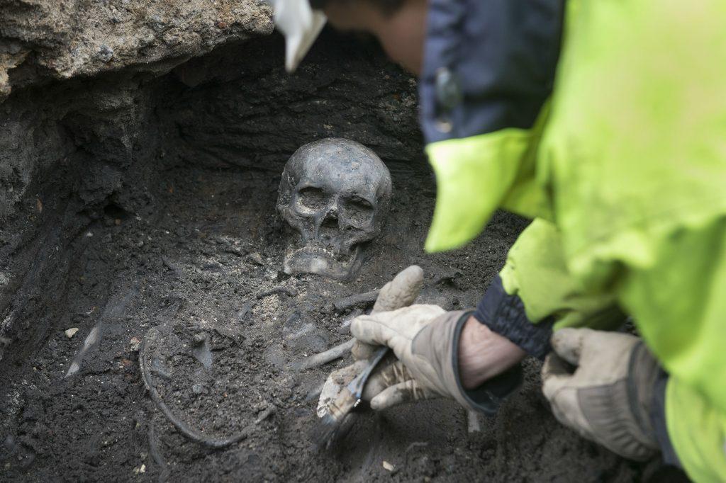 københavns universitet, arkæolog, udgravning, københavn, rådhuspladsen, skelet,