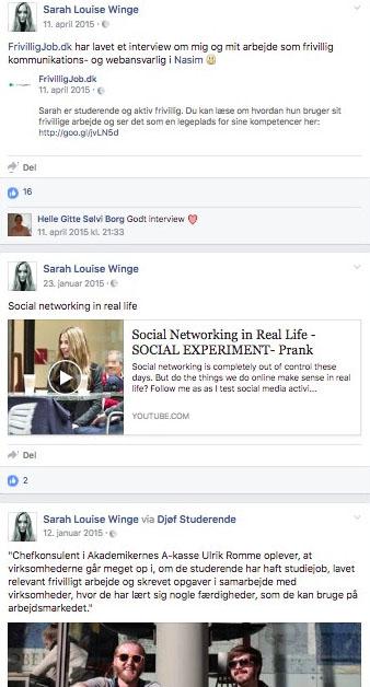Sarah Louise Winge lagde kun jobsøgningsrelevante ting åbent ud på sin facebook. (Foto: Screendump)