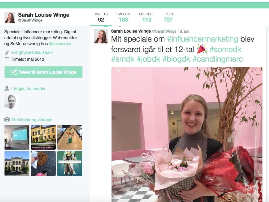 Sarah Louise Winge gjorde sig bemærket i den offentlige debat gennem de sociale medier. (Foto: Screendump)