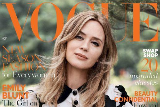 Emily Blunt på forsiden af britiske Vogues novemberudgave, The real issue. (Foto: Vogue)