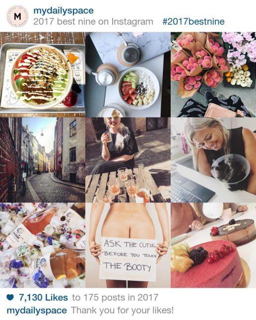 best nine, 9 mest likede billeder instagram