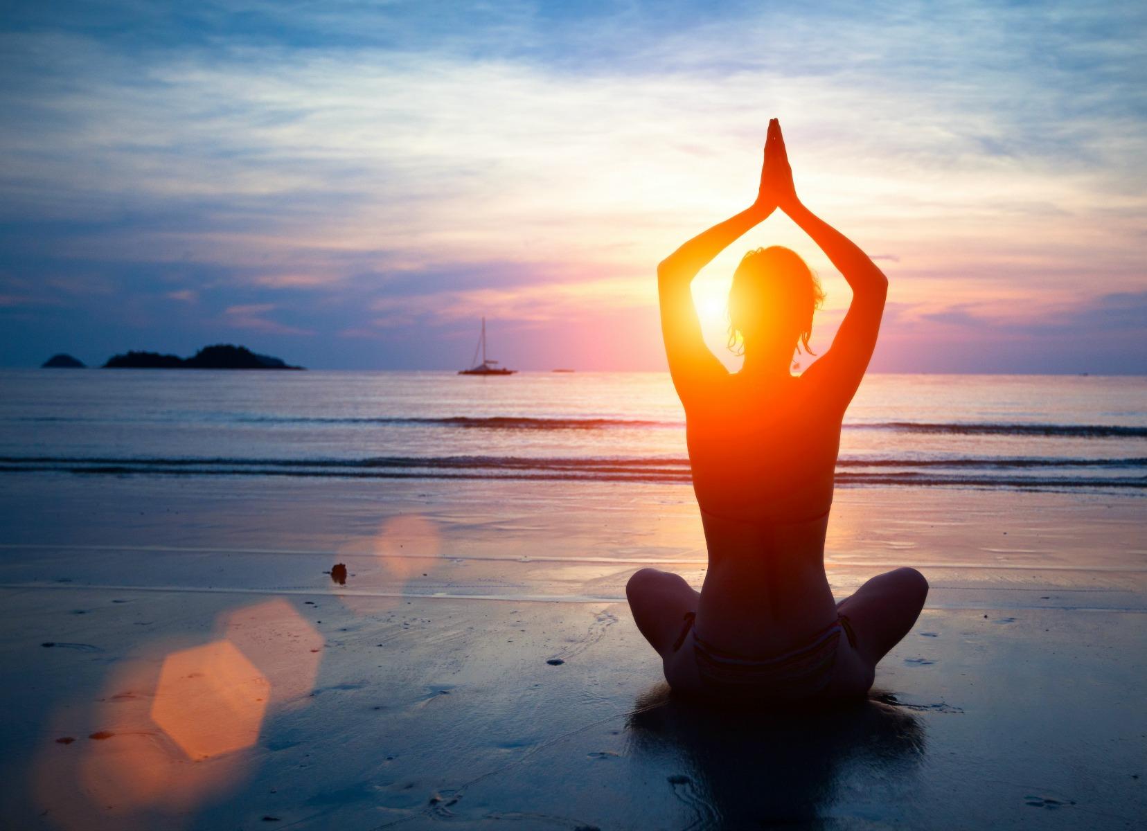 yoga, solnedgang, strand