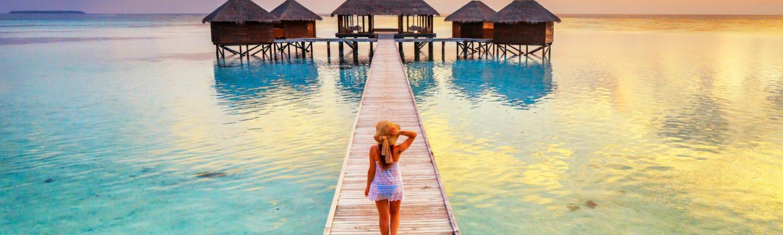 Maldives, Ari Atoll, Rangali, Conrad Hilton resort, overwater spa at sunset
