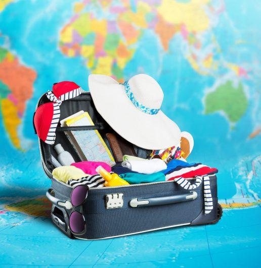 kuffert, håndbagage, pakkeguide, ferie, rejser