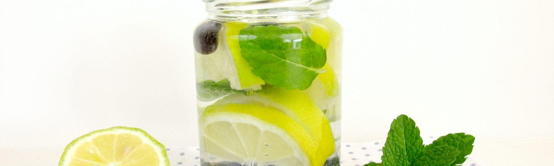 citron, blåbær, mynte, vand, marmeladeglas, masonjar, glaskrukke, drink, lemonade