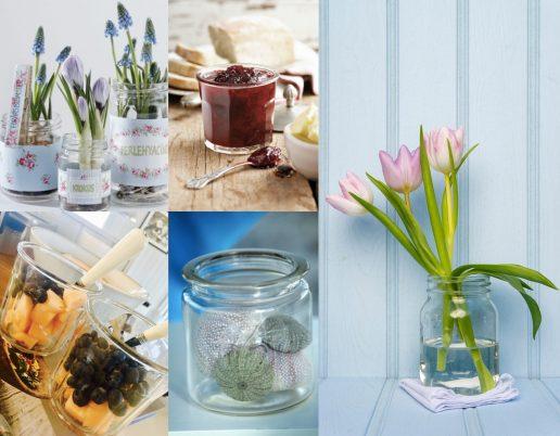 syltetøjsglas, vaser, diy