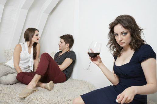 kvinde, vin, par, venner, sur, jaloux, holder uden for, fest,