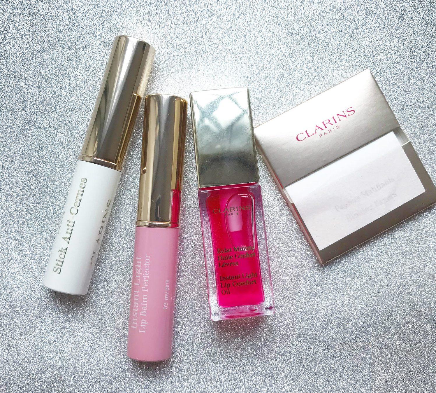 clarins, concealer, skønhedsprodukter, produkter, læbepomade, læbeolie, lip balm perfector, blotting paper