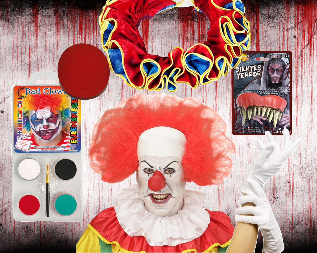klovn, halloween, kostume, halloweenkostume, uhyggelig, skræmmende, klæd ud, IT, pennywise