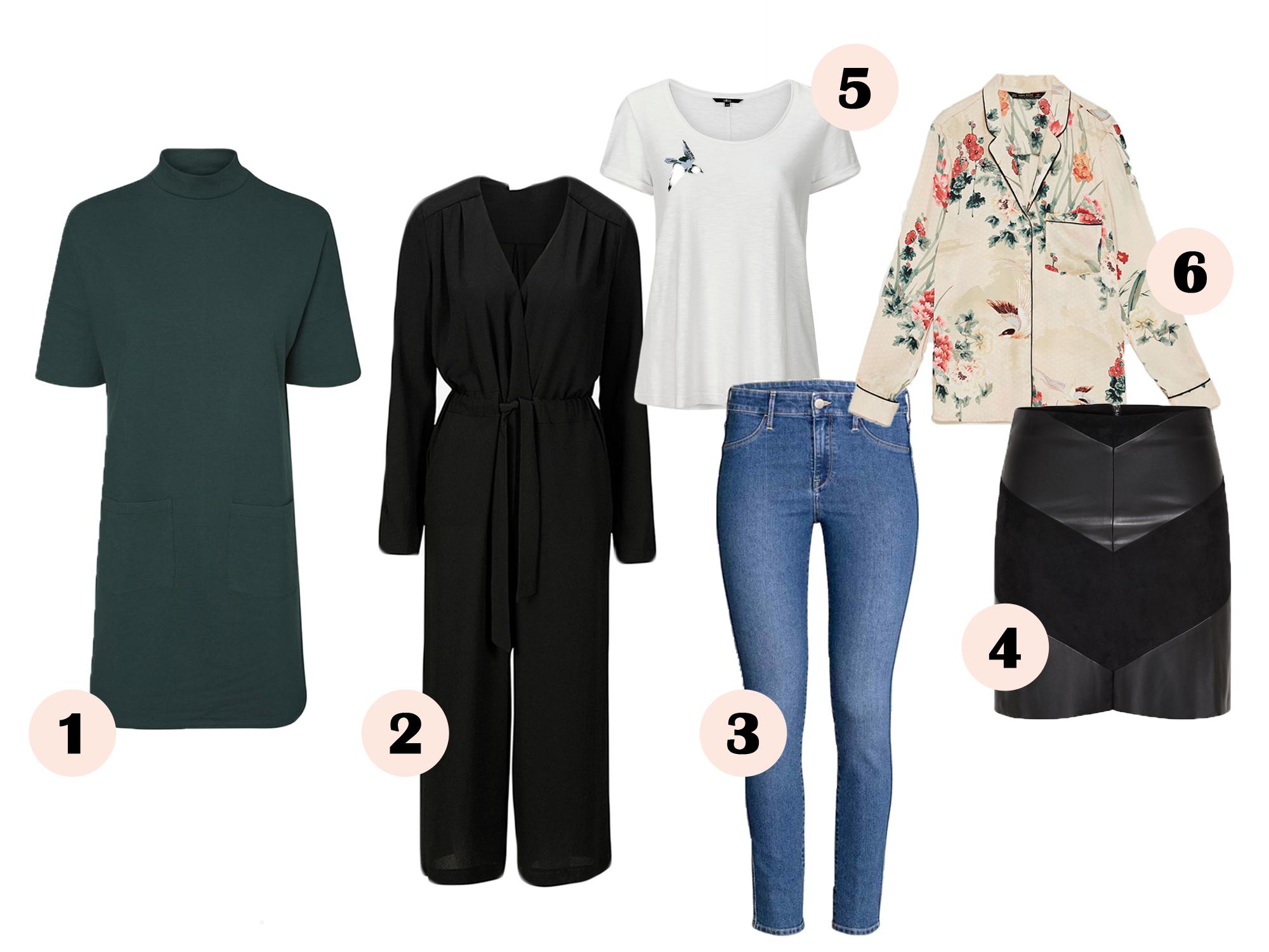 tøj, kjole, efterår, grøn, buksedragt, jumpsuit, t-shirt, hvid, jeans, blå, blomstret skjorte, imiteret lædernederdel