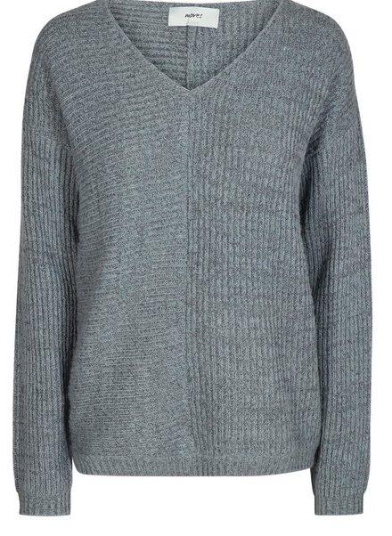 grå, trøje, strik, v-udskæring, efterår, minimum, moves