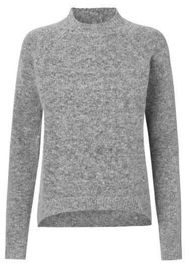 strik, uld, grå trøje, message, turtelneck, højhalset
