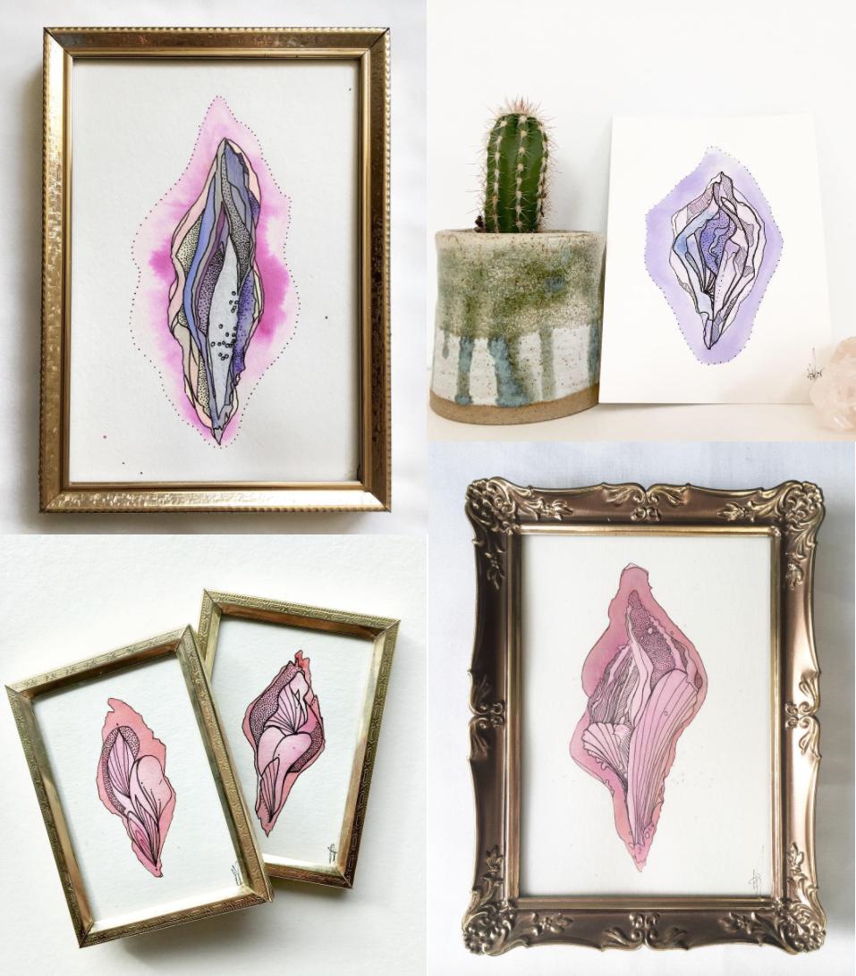vaginakunstner, vagina, vaginakunst, kunst, tegninger, fissen. Nogle af Meris første værker er små, indrammede tengninger. Senere er hun begyndt at lave større værker. (Foto: Pale Illusions Art)