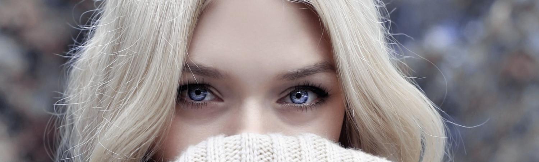 efterår, turtleneck, rullekrave, strik, dame, kvinde, øjne, blond