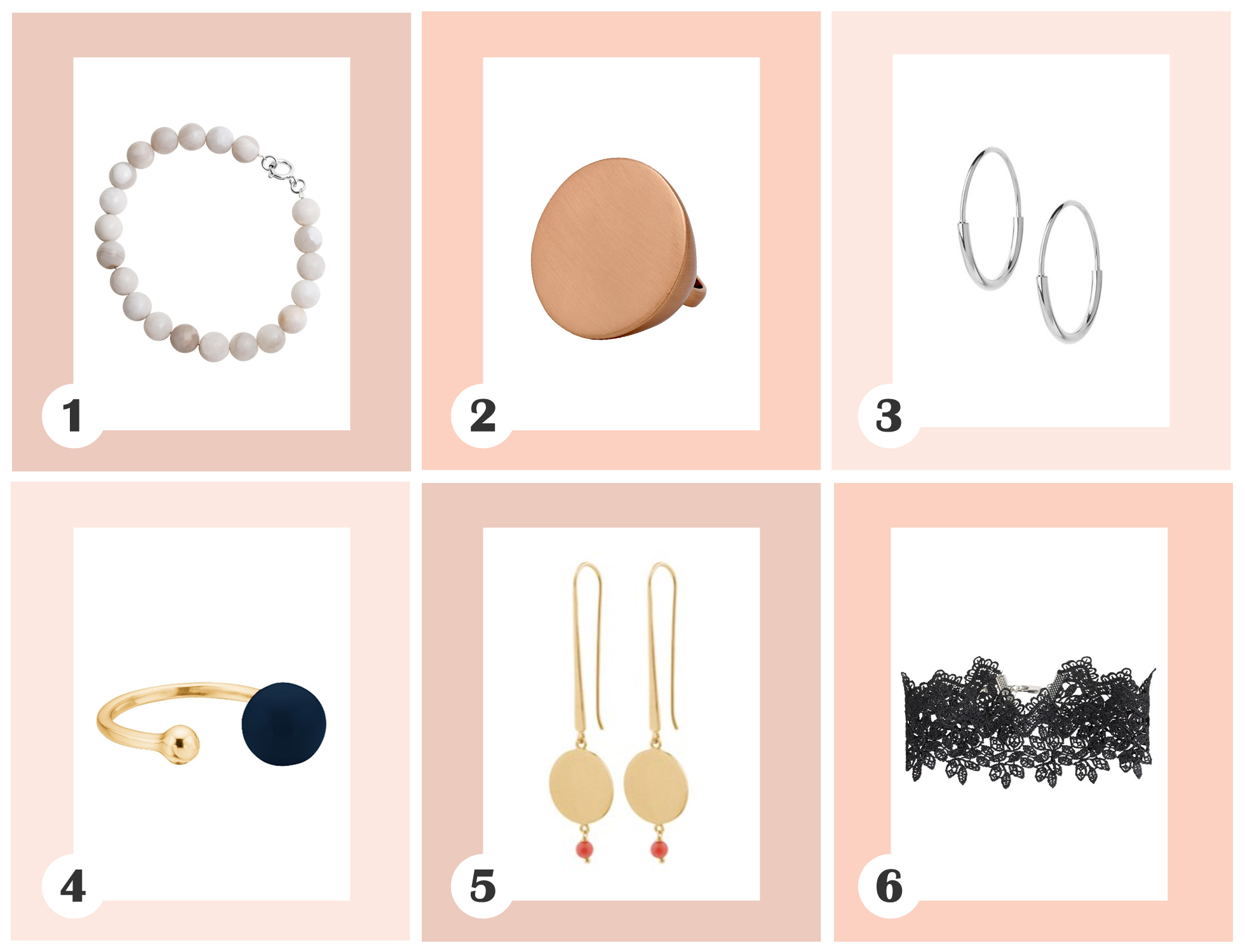 smykkemode, smykker, efterår, nude, hvid, grå, rosa, sort, mørkeblå, rubinrød, pilgrim, persuede, maria black, enamel, pernille corydon, pieces, armbånd, ring, ørering, halskæde