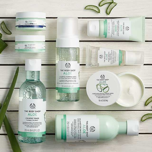 aloe vera, aloe, aloe-serien, the body shop, tbs, hud, allergi, reaktion, sensitiv, hudpleje, skønhed, creme, toner, renseskum, bodybutter, community trade, mexico, allergisk, allergi, test