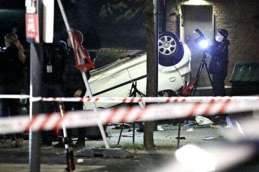 væltet bil, politi, gerningssted