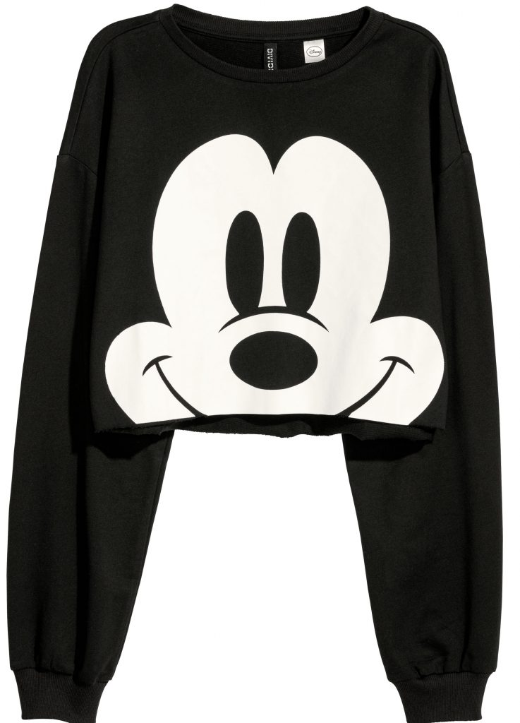 Disney, Disney-gaveidéer, gaveidéer, idéer, tegnefilm, animation, mickey mouse, croptop, sweatshirt, varme, sort, hvid, mickey