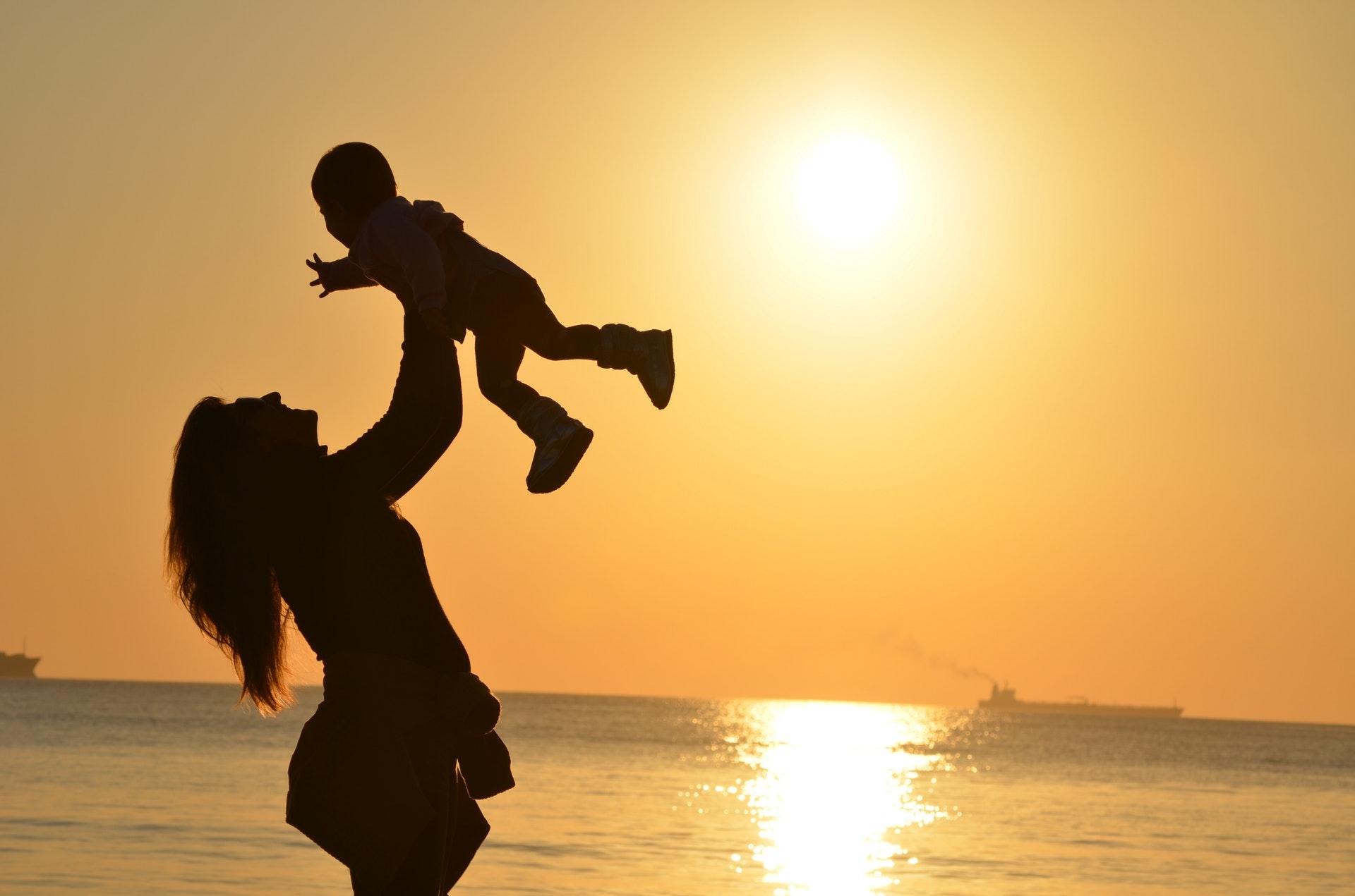 Mor, barn, solnedgang, aldring, kærlighed, love