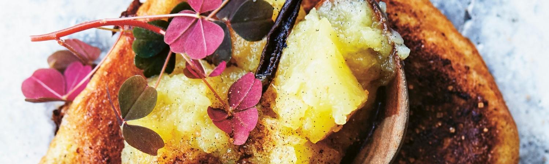 french toast med æblekompot