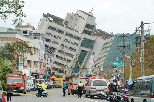 taiwan, kollaps, bygninger, hotel, døde, sårede, kvæstede, richter-skalaen, jordskælv,