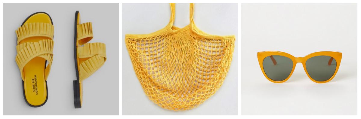gul, mode, shopping, interiør, inspiration, trends, sandaler, taske, net, solbriller, briller