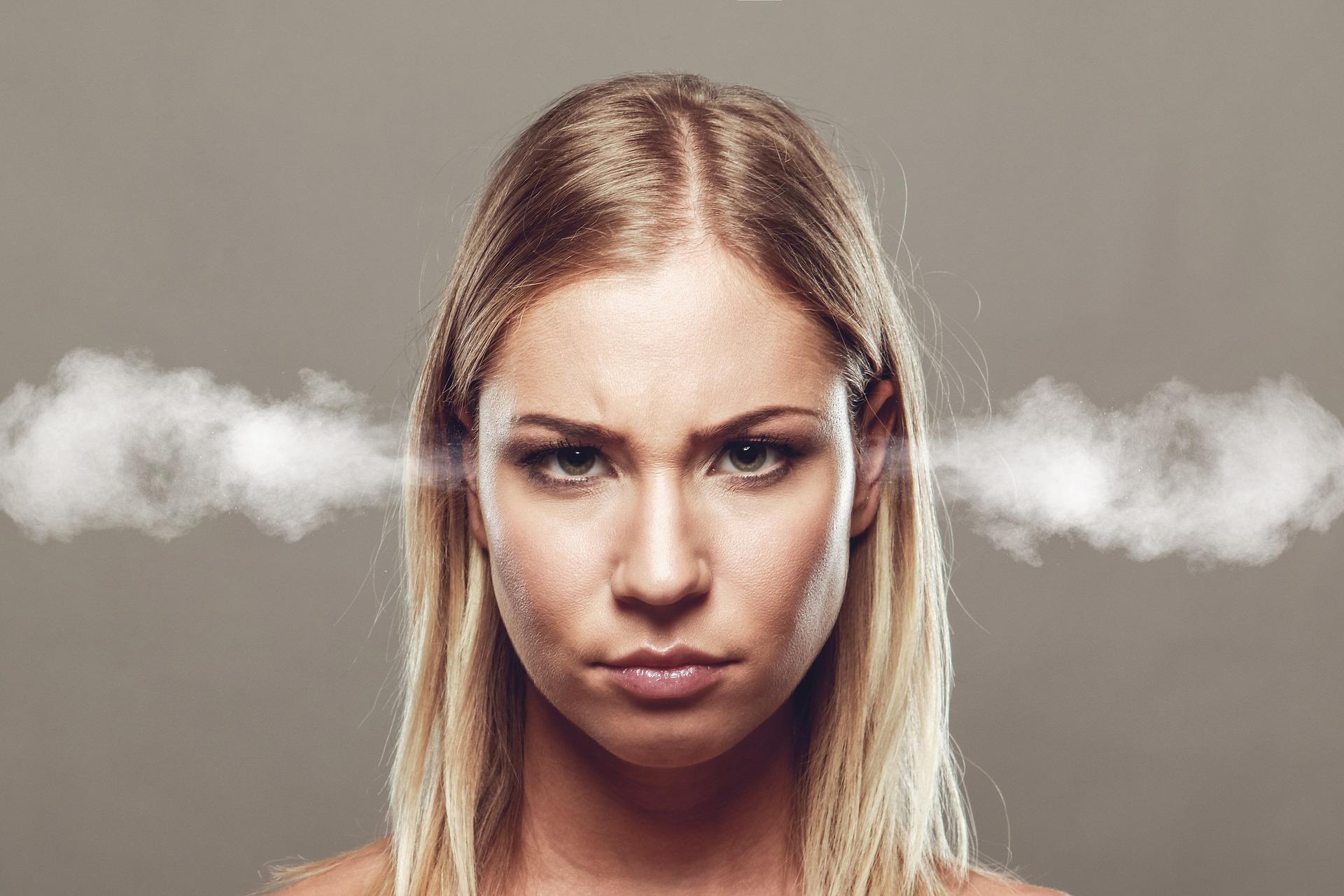 Vred, pige, angry, sur, psykologi, sociologi, hjerne