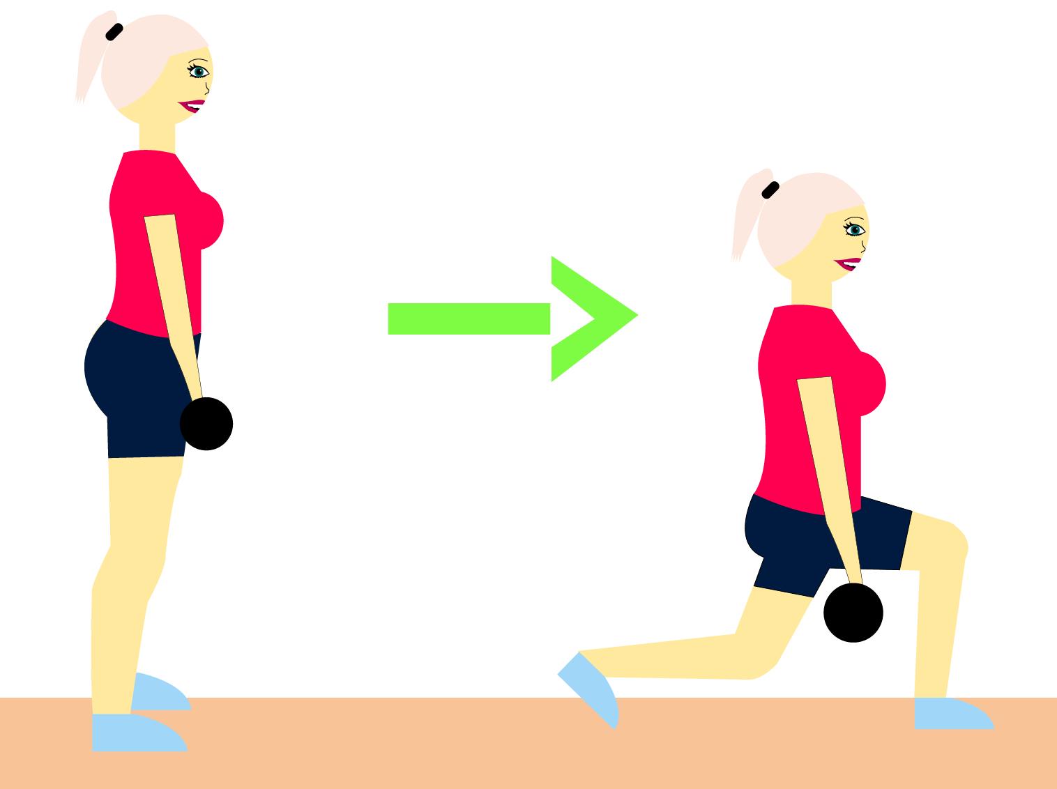 lunges, træning, squat, træning, sund, sundhed, mds, pige, guide, øvelser, træningsøvelser, træningsprogram, lunges, håndvægte